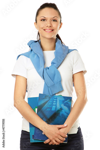 Female student with books, isolated on white background