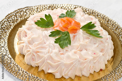 Creamy salmon mousse pie