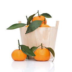 ripe tangerines with leaf in wooden bucket isolated on white