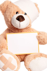 Teddy Bear with Bandage and empty Sign