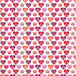 Seamless Pattern Hearts In Hearts In Hearts Retro White