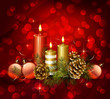 Christmas background with burning candles and pine cones