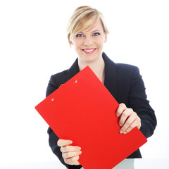 Efficient businesswoman with red clipboard