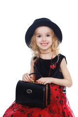 Smiling retro-styled girl portrait
