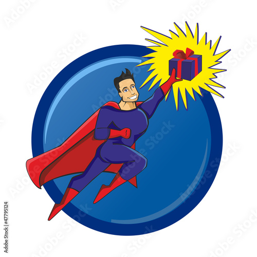 Spoed canvasdoek 2cm dik Superheroes Superhero with a gift in hand