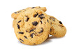 chocolate chip cookies isolated on a white background.