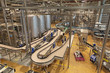 The interior of the brewery. Conveyor