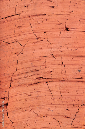 The texture of red brick, close-up