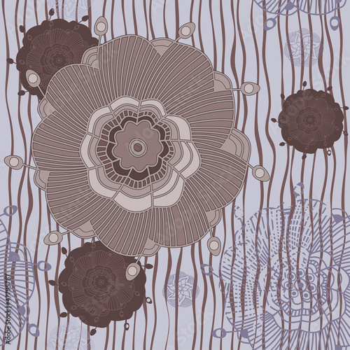 Tapeta Ornate floral seamless texture, endless pattern with flowers.