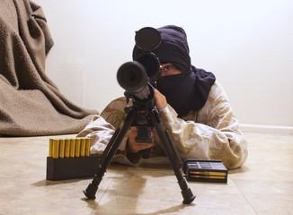 masked terror sniper aiming