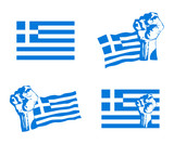 Greek uprising vector set