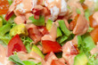Shrimp salad with avocado close up