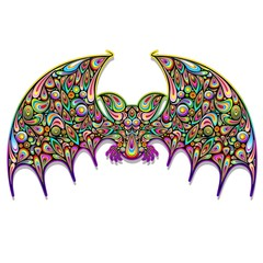 Bat Psychedelic Art Design-Pipistrello Psichedelico-Vector