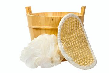 wooden bucket and sponge