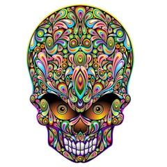 Skull Psychedelic Art Design Halloween-Teschio Psichedelico