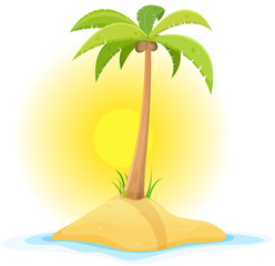 Palm Tree On Tropical Desert Island
