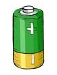 hand drawn, vector, cartoon illustration of battery - 47800314