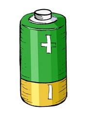 hand drawn, vector, cartoon illustration of battery