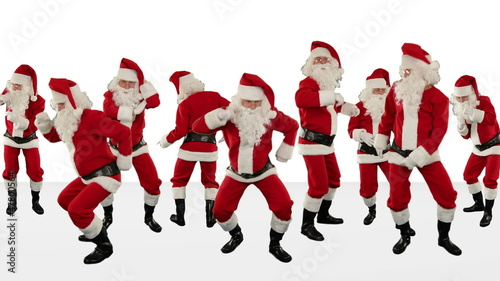 Bunch of Santa Claus Dancing, Christmas Holiday Background