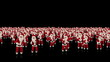 Santa Claus Crowd Dancing, Christmas Party, against black