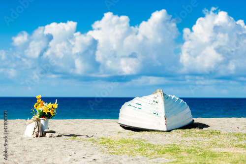An upside down boat and a vase of flowers on a solitary beach