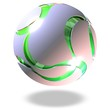 grüne Kugel mit geschwungenen Ausschnitten