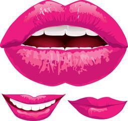Set of pink lips