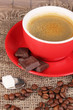 Red cup of Turkish coffee with chocolate, close up