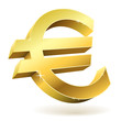 3D golden Euro sign isolated on white