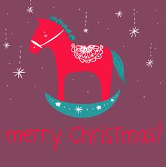 cavallino a dondolo Merry Christmas cartolina