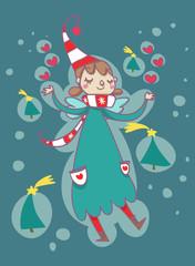 illustrazione natalizia fatina elfo