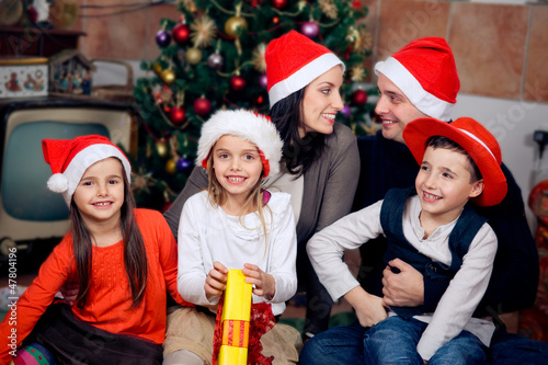 Happy family celebrating Christmas