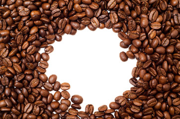 Round Frame Made of Coffee Beans