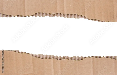 Cardboard frame on white background