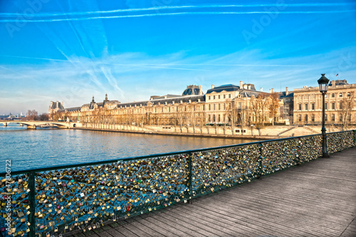 Louvre Museum and Pont des arts, Paris - France