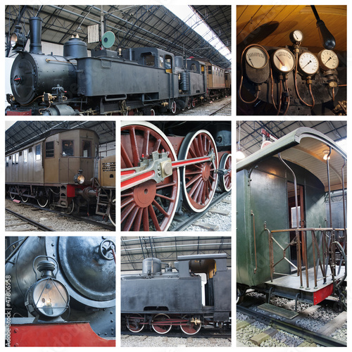 old train collage