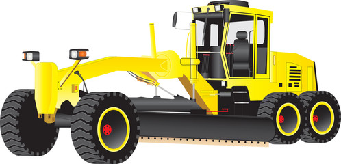 A Yellow Road Grading Machine isolated on  white