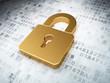 golden closed padlock on digital background