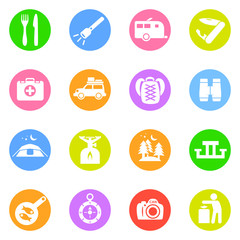 Camping icons in color circles
