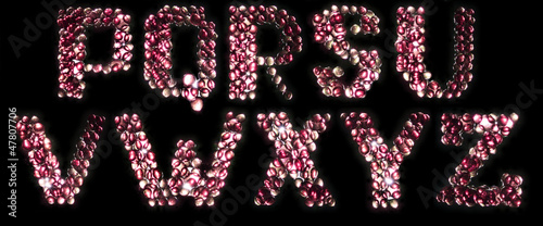 Glowing candy alphabet