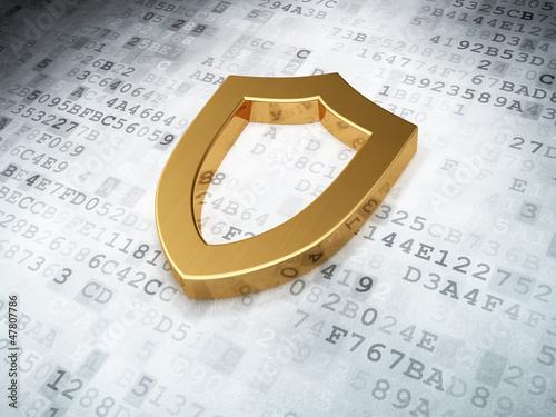 golden contoured shield on digital background