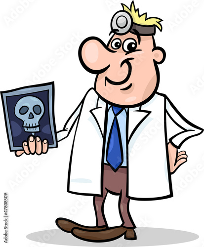 Vector: cartoon doctor illustration with xray