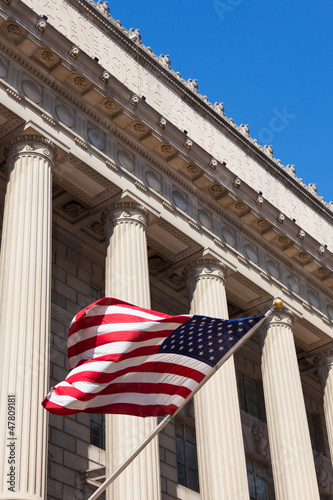 American flag in  the department of commerce building in Washing