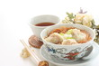 chinese cuisine, wonton noodles with hot tea