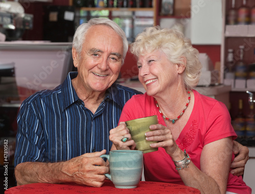Adorable Older Couple in Bistro
