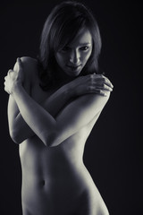 A beautiful Black & White nude woman