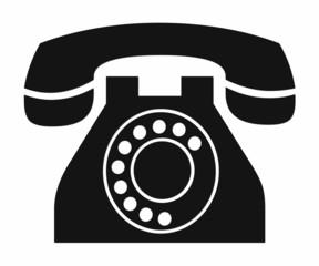 Teléfono vintage, ilustración.