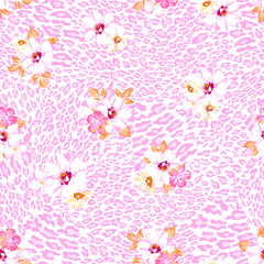 Pastel flowers over animal seamless background