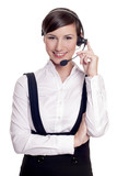 Portrait of a smiling call center operator