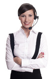 Portrait of a smiling call center operator in headset